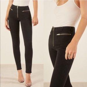 REFORMATION Niki Zip Pocket Black Skinny Jeans 29